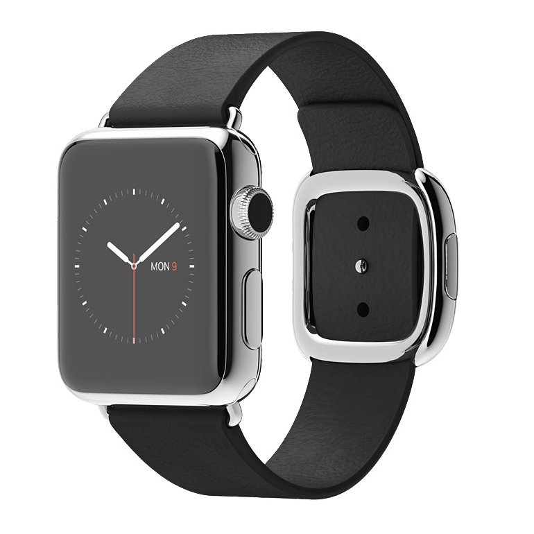 Apple Watch 38mm Stainless Steel Case with Black Modern Buckle